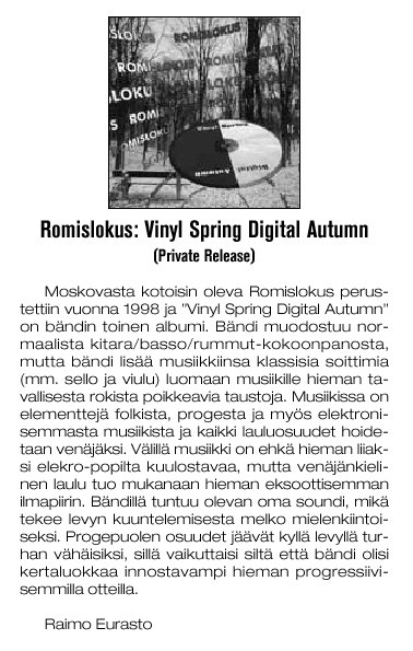 Music review from Colossus Magazine for Vinyl Spring, Digital Autumn by  (in Finish).