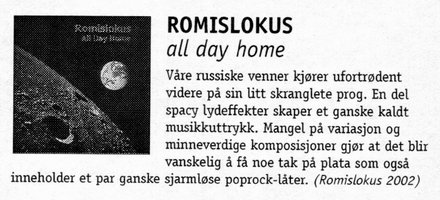 Рецензия от Tarkus magazine на альбом All Day Home, автор  (in Norwegian).